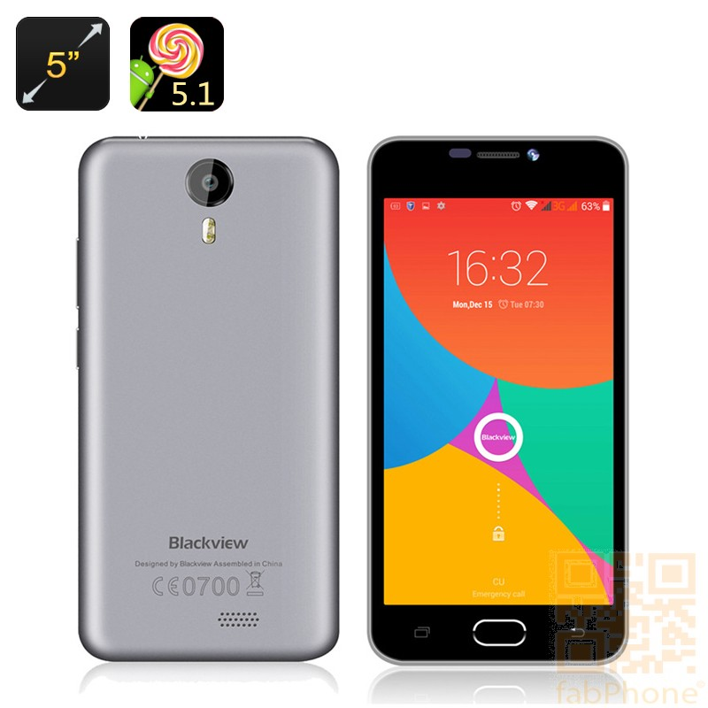 Blackview BV2000 - Android 5.1 Smartphone, 5 Zoll HD Display , 64 Bit Quad Core mit 1GB Ram und 8GB Rom, 4G LTE