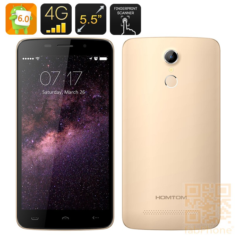 HOMTOM HT17 Smartphone - 5.5 Zoll HD Display, Android 6.0, Quad Core,  LTE  in Gold
