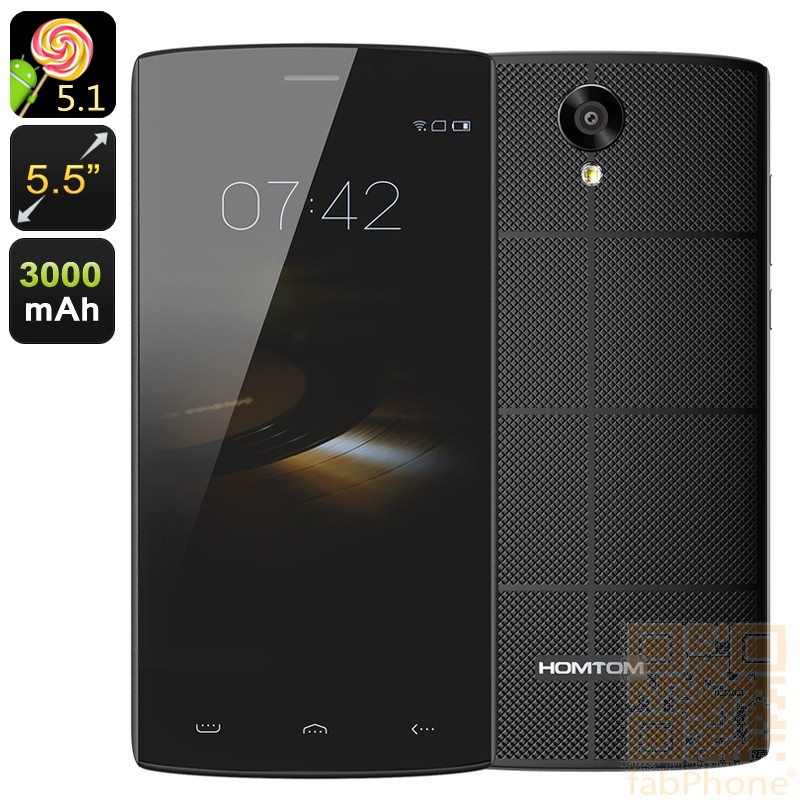 HOMTOM HT7  Smartphone - 5.5 Zoll HD Display, Android 5.1, Quad Core mit 1 GB Ram, 8 GB Speicher, Smart Wake  in Schwarz