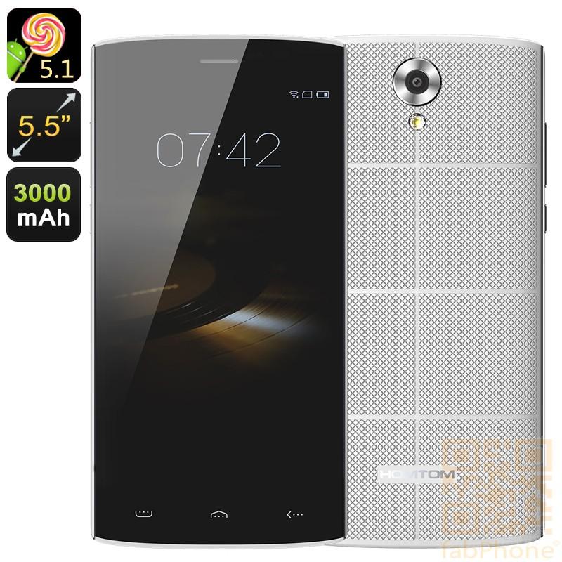 HOMTOM HT7  Smartphone - 5.5 Zoll HD Display, Android 5.1, Quad Core mit 1 GB Ram, 8 GB Speicher, Smart Wake  in Weiß
