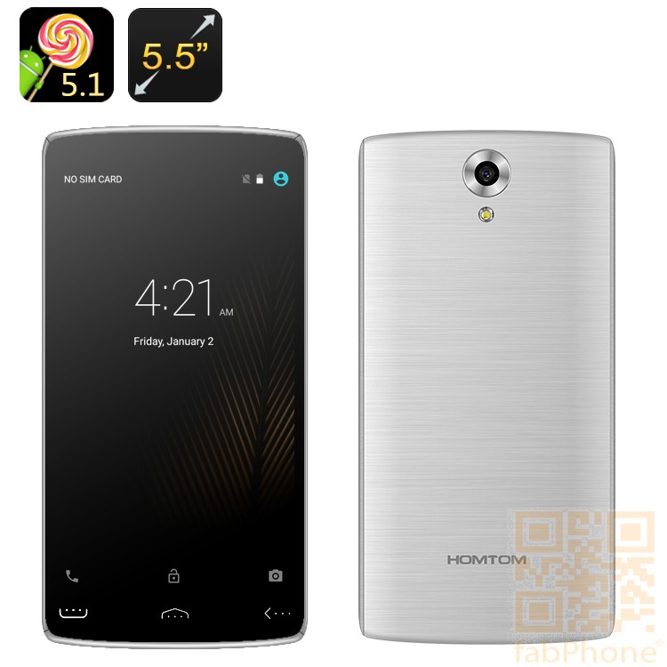 HOMTOM HT7 PRO  Smartphone - 5.5 Zoll HD Display, Android 5.1, Quad Core mit 2 GB Ram, 16 GB Speicher, LTE,  in Silber