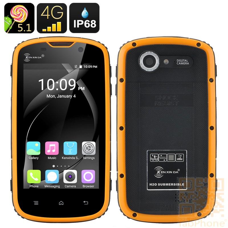 Ken Xin Da W5 Outdoor Handy, IP68 wasserdicht, staubdicht, schockresistent, Android 5.1, LTE, 4 Zoll Display, 64bit QuadCore mit 1GB Ram in Orange