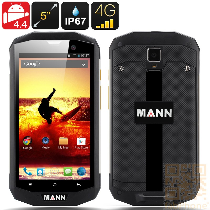 MANN ZUG S5 Outdoor Handy,  IP67 wasserdicht, staubdicht, schockresistent, Android 4.4, 5 Zoll HD Display, 4G, Qualcomm QuadCore mit 1GB Ram, Silber