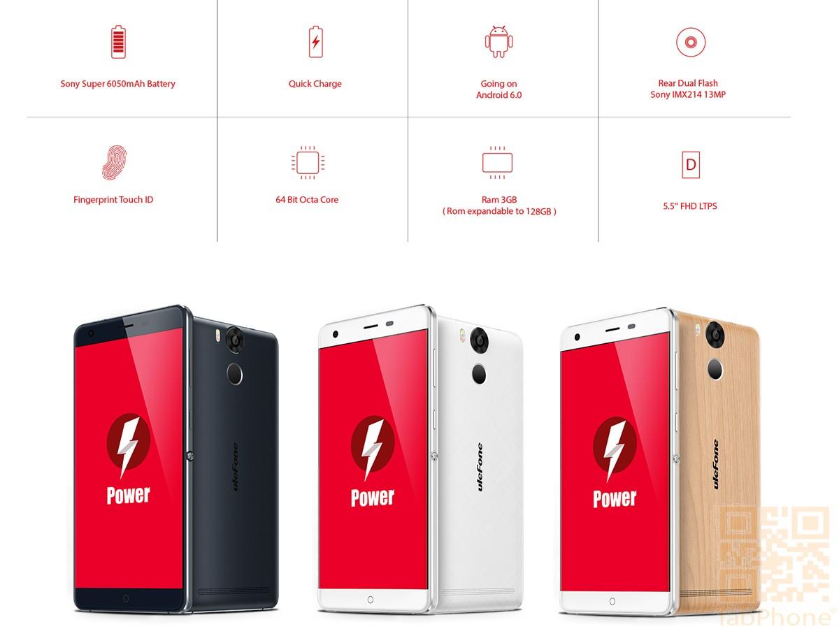 Ulefone Power - Smartphone mit 5,5 Zoll HD Display, Android 5.1, Octa-Core CPU mit 3 GB RAM, 6050mAh Akku, 4G, Schwarz oder Weiß