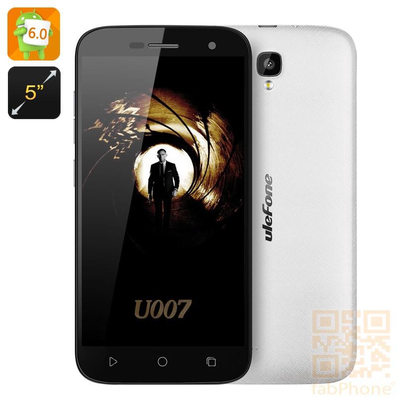 Ulefone U007 5 Zoll  Smartphone - Android 6, Sony Kamera, Quad Core CPU mit 1GB RAM, 8GB Speicher, Dual SIM  in Weiß
