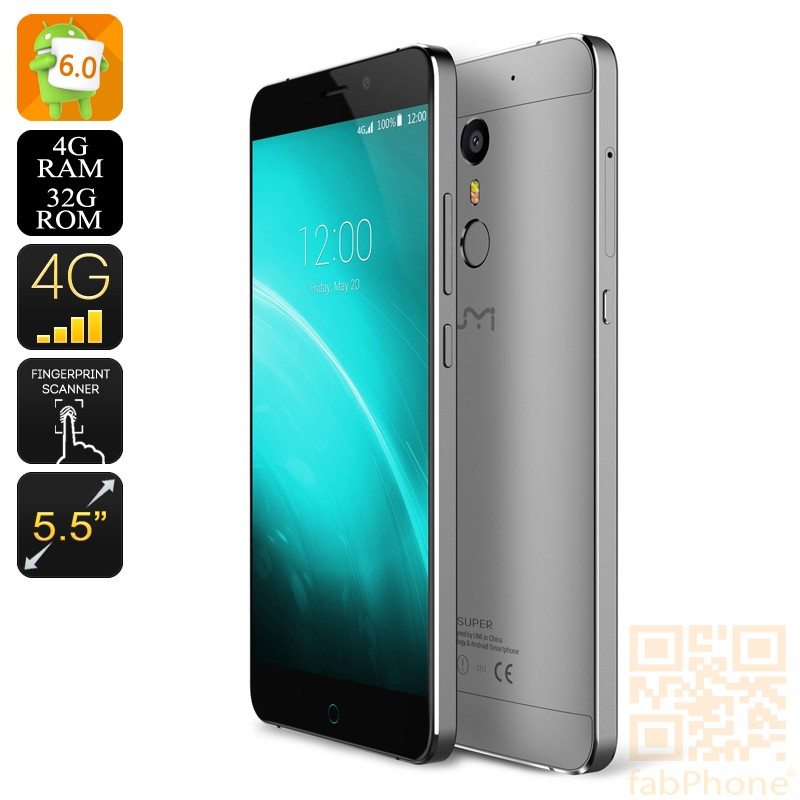 UMI Super Smartphone, Android 6.0, 64bit Octa Core mit 4GB RAM, 32GB Speicher, LTE, 256GB microSD Steckplatz in Silber/Grau