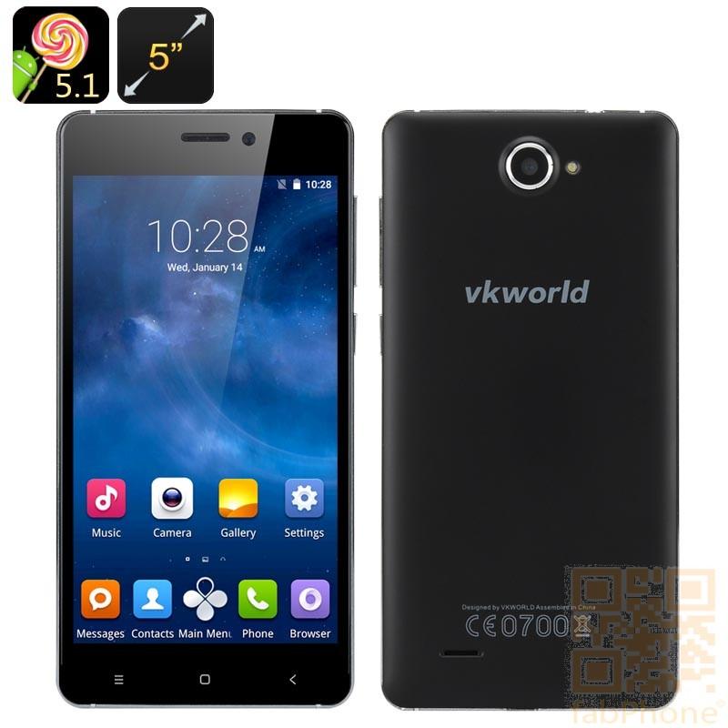 VKworld 700x - 5.0 Zoll HD Display, Android 5.1, Quad Core mit 1 GB Ram, 8 GB Speicher in Schwarz