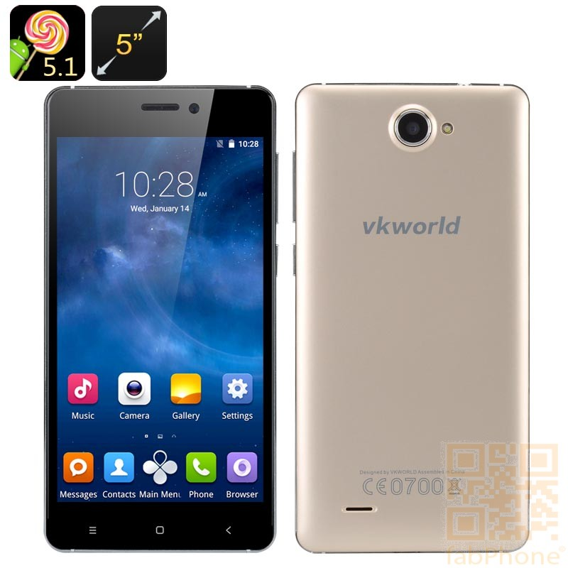 VKworld 700x - 5.0 Zoll HD Display, Android 5.1, Quad Core mit 1 GB Ram, 8 GB Speicher in Gold