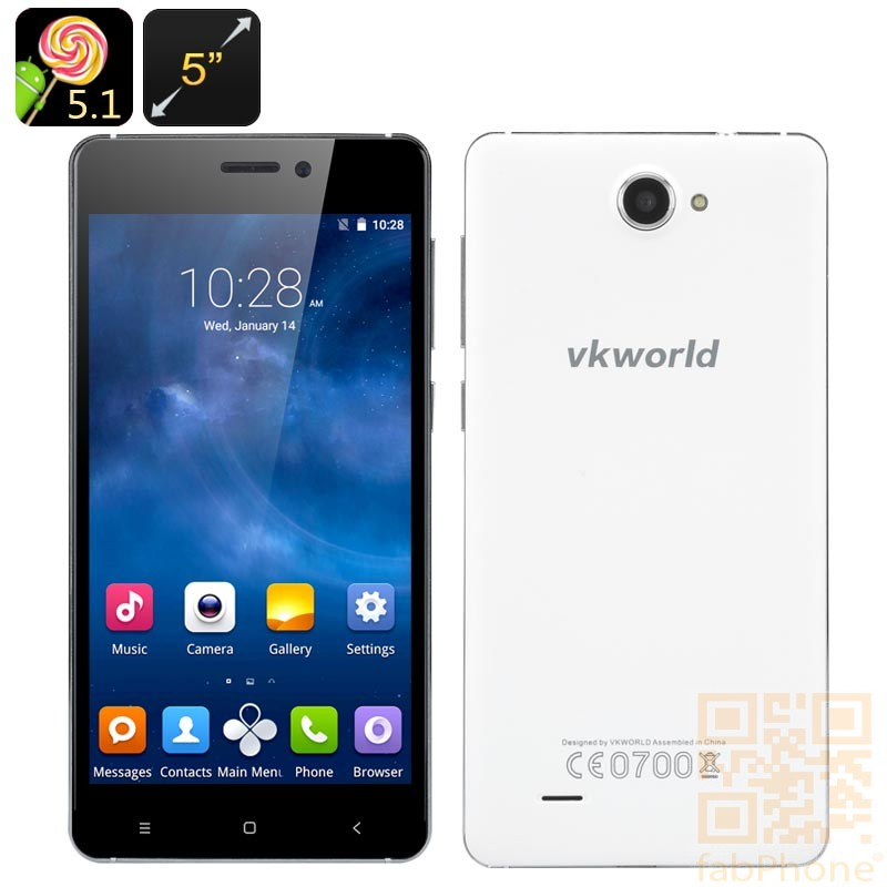 VKworld 700x - 5.0 Zoll HD Display, Android 5.1, Quad Core mit 1 GB Ram, 8 GB Speicher in Weiß