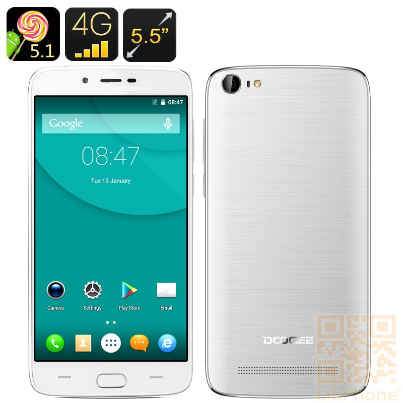 Doogee Y200 Smartphone, 5.5 Zoll HD Display, Quad Core CPU mit 2GB Ram, 32GB Speicher, Fingerabdruck Sensor, LTE in Weiß