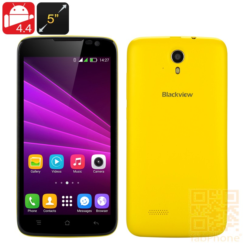 Blackview Zeta Smartphone mit 5 Zoll HD Display, Android 4.4, Octa Core CPU, 1GB RAM, 8GB ROM, Dual SIM in Gelb