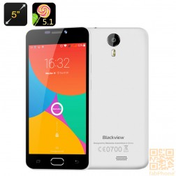Blackview BV2000 - Android 5.1 Smartphone, 5 Zoll HD Display , 64 Bit Quad Core mit 1GB Ram und 8GB Rom, 4G LTE in Weiß