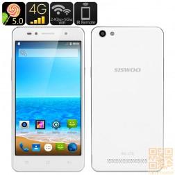 SISWOO C50 Smartphone mit Android 5.0 Lollipop, LTE, 5 Zoll HD OGS Display, 64 Bit Quad Core mit 1GB Ram, in Weiß