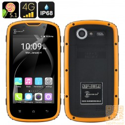 Ken Xin Da W5 Outdoor Handy, IP68 wasserdicht, staubdicht, schockresistent, Android 5.1, LTE, 4 Zoll Display, 64bit QuadCore mit 1GB Ram in Orange