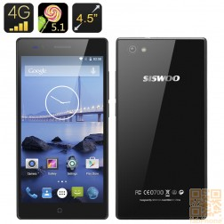 Siswoo A4+ Smartphone - 4.5 Zoll Display, LTE 4G,  64bit Quad Core mit 1GB RAM, Android 5.1, Smart Wake in Schwarz