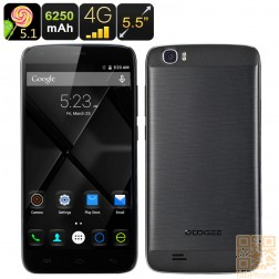 Doogee T6 Smartphone, 5.5 Zoll HD Display, 64Bit Quad Core CPU mit 2GB Ram, 6250mAh Akku, Android 5.1, LTE in Schwarz
