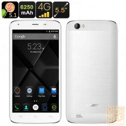 Doogee T6 Smartphone, 5.5 Zoll HD Display, 64Bit Quad Core CPU mit 2GB Ram, 6250mAh Akku, Android 5.1, LTE in Weiß
