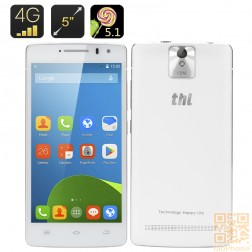 THL 2015A 4G Smartphone - 5 Zoll HD Display, 64bit Quad Core mit 2GB RAM in Weiß