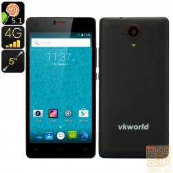 VKWorld VK6735x Smartphone mit Android 5.1 Lollipop, LTE, 5 Zoll HD Display, 64 Bit Quad Core mit 1GB Ram + 8GB Speicher, in Schwarz