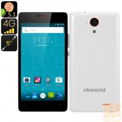 VKWorld VK6735x Smartphone mit Android 5.1 Lollipop, LTE, 5 Zoll HD Display, 64 Bit Quad Core mit 1GB Ram + 8GB Speicher, in Weiß