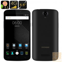 Doogee X6 Pro Smartphone, 5.5 Zoll HD  Display, 64Bit Quad Core CPU mit 2GB Ram, Android 5.1, LTE in Schwarz
